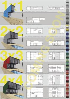 "Container homes - floor plans - LOT-EK announced their Container Home Kit, a prefab, do-it-yourself assembly unit that ""combines multiple shipping containers to build modern, intelligent and affordable homes. 40-foot-long shipping containers are joined and stacked to create configurations that vary in size approximately from 1,000 to 3,000 square feet."" Watch the video at link."