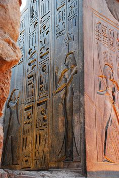 Hieroglyphs on Rameses Colossus in Memphis, Egypt. Was the ancient capital of Aneb-Hetch, the first nome of Lower Egypt. Its ruins are located near the town of Mit Rahina, south of Cairo.  (by David Lewis)