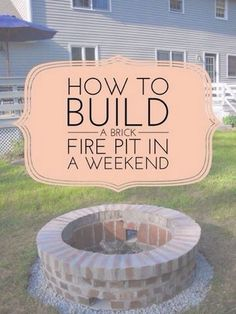 DIY Fireplace Ideas - DIY Brick Firepit Project - Do It Yourself Firepit Projects and Fireplaces for Your Yard, Patio, Porch and Home. Outdoor Fire Pit Tutorials for Backyard with Easy Step by Step Tutorials - Cool DIY Projects for Men Diy Fire Pit, Fire Pit Backyard, Backyard Patio, Outdoor Fire Pits, Fire Pit Landscaping, Backyard Seating, Landscaping Ideas, Diy Outdoor Fireplace, Diy Fireplace