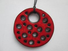 red ceramic pendant ethnic ceramic necklace pottery