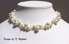 Pearl Necklace Bridal Swarovski Cream Pearls by DesignsbyTBrigham, $56.00