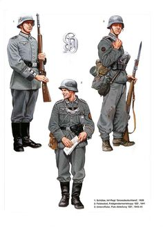 The Greater Germany (Großdeutschland) Division was an élite German Army (Heer) combat unit which saw action during World War II. It was the premier division of the German Army. Ww2 Uniforms, German Uniforms, Military Uniforms, German Soldiers Ww2, German Army, Military Art, Military History, Luftwaffe, Ww2 History