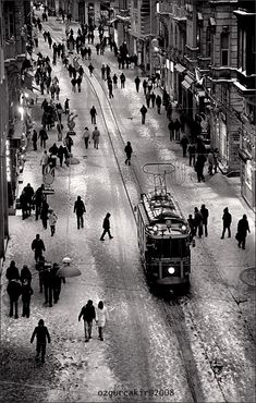 Winter - Istiklal Street  Beyoglu, IstanbulTram XVIII by oscarsnapshotter.deviantart.com