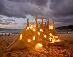 Lighted sand castle  Love this.