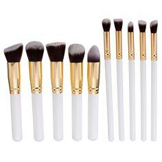 10pcs pinceles de maquillaje del kit del rostro rubor base en polvo profesional cepillo cosmético
