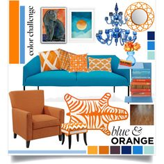 Color Challenge: Blue and Orange by remysg21 on Polyvore featuring interior, interiors, interior design, home, home decor, interior decorating, Arper, Wildon Home, French Heritage and Jonathan Adler