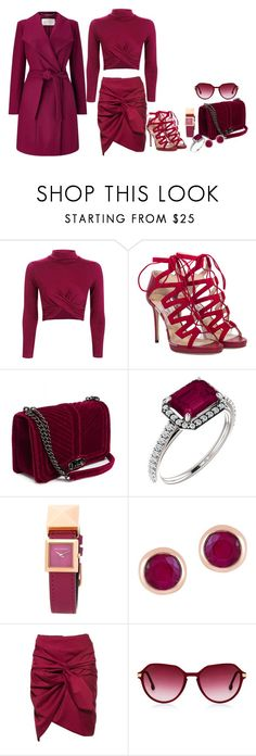 """""""fine wine"""" by rshofiyya ❤ liked on Polyvore featuring Topshop, Jimmy Choo, Karl Lagerfeld, Effy Jewelry, Steven Alan and Windsmoor"""