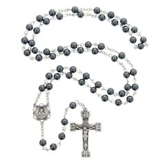 Sterling Silver Hematite Bead Rosary with Sacred Heart of Jesus center | The Catholic Company
