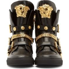 Versace Black Leather Chain Sneakers