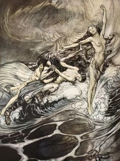 The Rhinemaidens Obtain Possession Of The Ring And Bear It Off In Triumph Drawing by Arthur Rackham