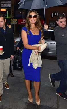 ELIZABETH HURLEY The Royals star receives a royal welcome outside NBC's Today in NYC. #celebs #lizhurley #theroyals