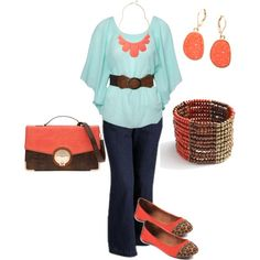 plus size outfit, created by penny-martin on Polyvore--How cute! I'm not sure I could pull off the colors, but I love the outfit!