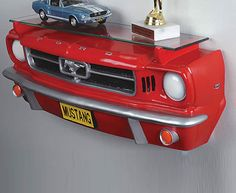 These Ford Mustang inspired shelves really bring something different to the home. #FordMustang #Shelves #HomeDecor #Cars