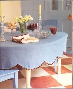"""A fitted tablecloth- I love this. Would eliminate the """"bunching"""" and """"slipping"""" problems of regular tablecloths...."""