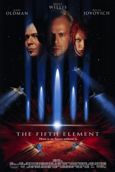 """The Fifth Element (1997): Luc Besson Bruce Willis Milla Jovovich Gary Oldham Chris Tucker. Invading aliens treasure hunt secret weapon. The future looks a lot like """"Blade Runner"""" here, and the lines are good. """"Anybody else want to negotiate?"""""""