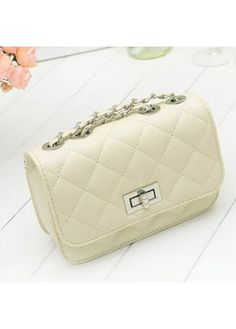 Faux Leather Beige Quilted Twist Lock Shoulder Bag on sale only US$8.60 now, buy cheap Faux Leather Beige Quilted Twist Lock Shoulder Bag at martofchina.com