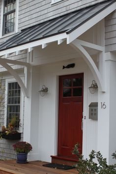 Front Doors: Gorgeous Awnings For Front Door For Modern Ideas. Images Of Front Door Awnings. Copper Awning Over Front Door. Black Awning Over Front Door. Canvas Awnings For Front Door. Wood Awning Over Front Door. Side Porch, Side Door, Front Door Overhang, Roof Overhang, Deck Overhang Ideas, Black Metal Roof, Metal Roof Colors, Porch Awning, Front Porch Pergola