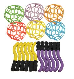 Sportime RubberFlex GrabBalls and Katch-N-Throws, Set of 18