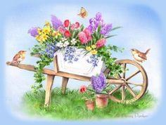 17 Best images about dekopaj (garden) Fabric Painting, Watercolor Paintings, Penny Parker, Decoupage, Spring Art, Spring Time, Fruit Art, Wheelbarrow, Funny Art