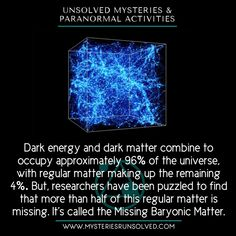 Along with its unexplained Dark Matter and Dark Energy, the Universe holds another huge part of it called the Missing Baryonic Matter that also leads a big mystery to our present science. Wow Facts, Wtf Fun Facts, Funny Facts, Astronomy Facts, Space And Astronomy, Physics And Mathematics, Quantum Physics, Short Creepy Stories, Physics Memes