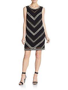 Karina Grimaldi Claire Beaded Mini Dress - Black - Size