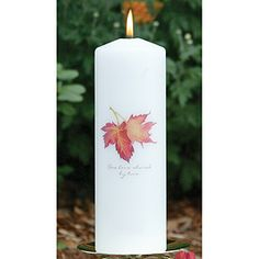 Carry your fall leaf wedding theme throughout your ceremony with the Simply Autumn fall maple leaf unity candle. Wedding Reception Decorations, Wedding Themes, Wedding Ideas, Wedding Stuff, Fall Candles, Pillar Candles, Wedding Unity Candles, Autumn Theme, Autumn Fall