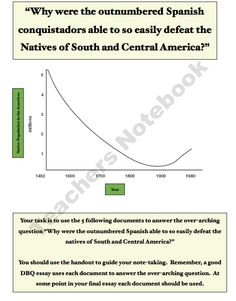 Why were Spanish conquistadors able to easily defeat the natives?: A Student DBQ product from Mr-Educator on TeachersNotebook.com