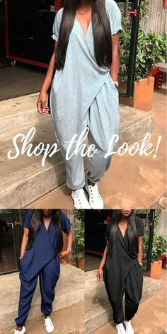 Shop the latest plain short sleeved wrapped jumpsuit at cost effective price. More stylish… Ethnic Fashion, Look Fashion, African Fashion, Spring Fashion, Autumn Fashion, Casual Chic, Casual Wear, Casual Outfits, Mode Outfits