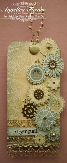 craft, pea, gear, handmade tags, color, steampunk tag, bucket, challeng, gift tags