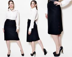 Vintage black pencil skirt made in West Germany. The model on the pictures is size S/36 and 165 cm height. Please check measurements with your own to avoid problems with the size. Make sure you double the measurements where shown (*2): Label size: 38 / M Total lenght: 66 cm / 26 inches Waist: 31.5 cm *2 / 12.5 inches *2 Hips: 44.5 cm *2 / 17.5 inches *2 Bottom Width: 56 cm *2 / 22.25 inches *2 (open) Condition: very good Colors: Black Circa: 80s Fabric: 55% Po...
