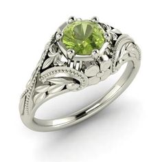Round Peridot Ring in 14k White Gold