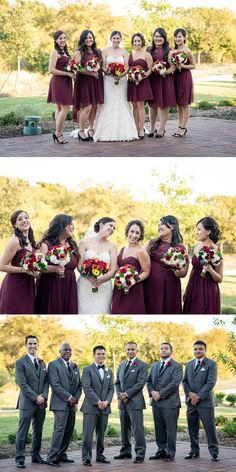 Noah's Event Venue Weddings - Beautiful bridal party group photo burgundy bridesmaids dresses and gray groomsmen suits
