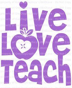"""Live Love Teach with Apple """"O"""" Vinyl Decal Sticker Teacher for Vehicle Auto Car,Teacher Teaching vinyl Decal, Teacher Vinyl Decal, Teacher Teaching Education Educator Decal, Educator Life Decal, Teach"""