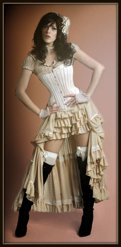 Saloon Girl...costume designed by and exclusive to The Costume Shop, Melbourne. Steampunk Skirt, Cosplay Steampunk, Steampunk Couture, Steampunk Clothing, Steampunk Fashion, Gothic Fashion, Gothic Clothing, Western Saloon Halloween Costume, Western Costumes