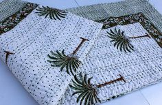 With Fast Shipping Vintage Kantha Hand Stitched Christmas Gift Sale, Kantha Quilt, Cotton Quilts, Hand Stitching, Bohemian, Printed, Handmade Gifts, White Queen, Pattern