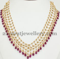 Pearls and Ruby Drops Heavy Choker