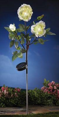 Garden Rose Solar Floral Stake Light