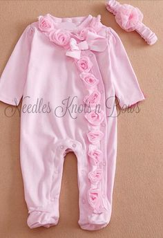 Baby Girls Pink Coming Home Outfit, Pink Footed Sleeper with Headband,, Infants Pajama's