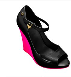 #melissa #shoes black shoes with neon pink wedge