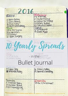 Tons of yearly bullet journal spreads!
