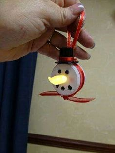 battery operated tealight snowman ornament