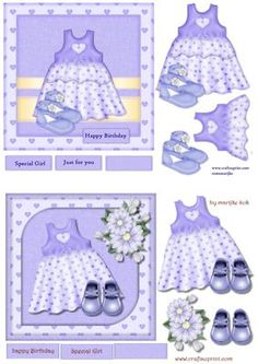 Birthday Girl Dress Shoes Cute on Craftsuprint designed by Marijke Kok - 2 toppers for very cute birthday girl(toddler) cards.easy to make  - Now available for download!