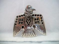 silver tone Thunderbird pin by ALEXLITTLETHINGS on Etsy, $10.00