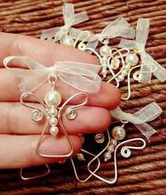 Silver Plated or Gilt (gold color) Wire Wrapped Angel Pendant, Swarovski White . - Silver Plated or Gilt (gold color) Wire Wrapped Angel Pendant, Swarovski White Pearls, Baby Shower - Wire Ornaments, Beaded Christmas Ornaments, Christmas Jewelry, Christmas Diy, Xmas, Handmade Christmas, Beaded Christmas Decorations, Ornaments Ideas, Christmas Images