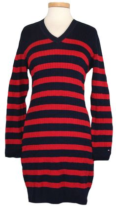 Tommy Hilfiger Womens Sweater Dress Striped Cable Knit V-Neck Navy Red Sz L NEW #TommyHilfiger #SweaterDress #Casual