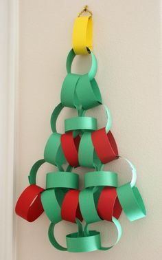 Great Christmas tree craft for kids to make..construction paper & tape! ... Uploaded with Pinterest Android app. Get it here: http://bit.ly/w38r4m