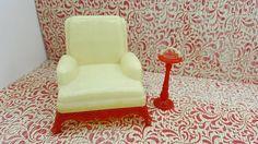Renwal Arm chair And Ashtray Cream and Red Den Cozy Doll House Toy Plastic Livingroom  #RenwalIdeal #DollHouse #TinLitho #furniture #miniature #EcochicteamWlv #FireplaceDen #DollhouseToy #SuperiorMarx #MinimalScratch #dollhouse#miniatures#dolls#vintagetoys#retro#midcentury#marx#renwal#minimalscratch#etsyseller