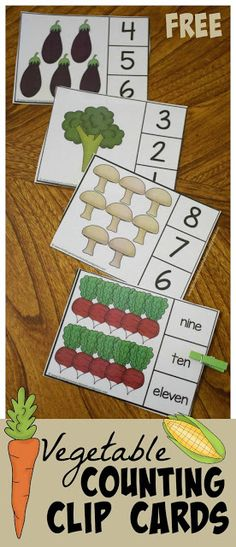 Make it fun for preschool and kindergarten age kids to practice counting to 10 with these free Count to 10 Vegetable Clip Cards. You can grab these FREE Vegetable Counting Clip Cards from our sister site! Counting For Kids, Counting Activities, Nutrition Activities, Activities For Kids, Healthy Food Activities For Preschool, Preschool Food Crafts, Preschool Garden, Preschool Lessons, Preschool Math