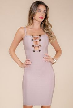 61039755eaf Ladder front metal trim spaghetti strap bandage dress - Polyester  Spandex  - Color  Dusty. NaughtyGrl