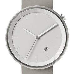 Polygonal in shape, this watch has a distinctive faceted, brushed stainless steel case #design #watches